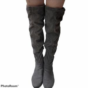 Aldo grey over the knee suede boots